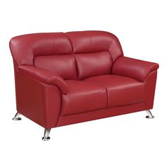 Global Funriture Red PU Leather Blanche Loveseat (Loveseat Blanche RED PVC) (Plastic)