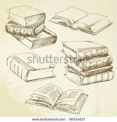 stock vector : books - hand drawn set