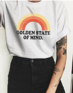 Our golden state of mind rainbow design is printed on a unisex bella + canvas tee. Slightly dropped shoulder with an unfinished sleeve and hem; destroyed neck and hemline. We use a high quality direct to garment process so the inks are imbedded into the f Hipster Stil, Style Hipster, Hipster Fashion, Hipster Clothing, T Shirt Fashion, Fashion Clothes, Hipster Party, Vintage Outfits, Vintage Shirts