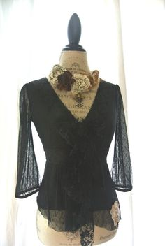 Black gypsy rose shirt tattered lace top by TrueRebelClothing, $44.00