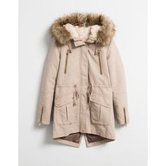 BSK lined parka with detachable fur Coats Bershka Estonia ❤ liked on Polyvore featuring outerwear, coats, bershka, fur coat, parka coat, fur lined parka and fur parka coat