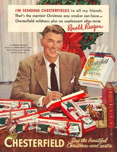 Vintage Christmas Magazine Ad ~ Chesterfield Cigarettes * Ronald Reagan ©1952