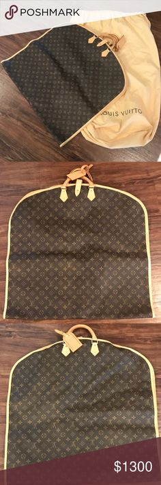 """Louis Vuitton Garment Bag w. 2 Hangers Louis Vuitton Garment Bag w. 2 Hangers :Size - 21.7""""L x 24.8""""H x 0.4""""W :Condition - Like New :Features - 2 rounded leather handles, monogram canvas body, leather trim, zipped closure, one external hook, 2 removable hangers and name tag :Includes lock, keys and dustbag :Sold out online :Comes from a smoke & pet free environment :Questions - ask below Louis Vuitton Bags"""
