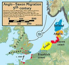 """The main Anglo-Saxon peoples in about 600, divided into Bede's three traditional groupings - although the reality may have been more complex."""