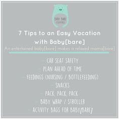 Okay so going to the grocery store with your baby[bare] is hard enough but going on vacation Now thats a mission! But not to worry I got your back!! Ive put together some of the super helpful tips that allowed for a SMOOOOOOOOTH vacation!  1 Check that your car seat is approved to fly. The last thing you need is to get to the airport and find out that your car seat is deemed unable to fly. 2 As mama[bare]s we know time RARELY goes our way so make sure to plan ahead of time. Who knows what…