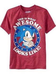 They need to make this for adult fans! Boys Sonic The Hedgehog® Tees Sonic Birthday Parties, Sonic Party, Baby Birthday, Birthday Ideas, Hedgehog Birthday, Little Boy Fashion, Boys Shirts, Boy Outfits, Sonic The Hedgehog