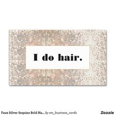 Faux Silver Sequins Bold Hair Stylist | Hairstylist | Hairdresser Salon Double-Sided Standard Business Cards (Pack Of 100)