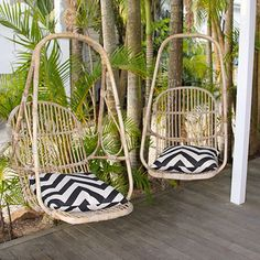 Hanging chairs with geometric cushions - perfect for our deck I from the Atlantic Byron Bay hotel in Australia