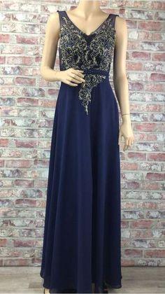 Tmavo modré spoločenské šaty so zlatým vyšívaním 55dd8ff309
