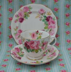 Royal Albert Princess Anne vintage English Bone China Trio - Tea Cup, Saucer, Tea Plate, Pink Roses and Gilt, Rare, VGC, First Quality by ImagineHowCharming on Etsy