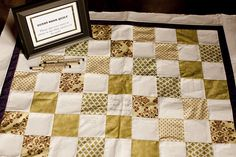 guest book quilt - I like how some are patterned and some are solid colors/ white squares for signing.