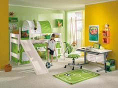camo bed with slide | White Bunk Beds With Slide In Football Themed Bedroom Cool…