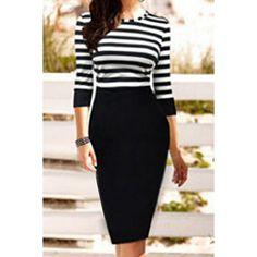 $12.27 Simple Scoop Collar 3/4 Sleeve Striped Spliced Women's Dress