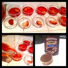 Chocolate covered strawberry jello shots!   •Cut strawberries into small pieces •Soak in rum overnight •Make jello as directed on box but substitute vodka for water •Place a piece or two of strawberries in each cup •Fill cups with jello mixture •Let set in fridge as directed •When ready pour a thin layer of magic shell chocolate topping •Place in freezer for a minute or two until chocolate hardens •Top with whip cream (I had ran out before I could take the pics tho) •Enjoy!!!