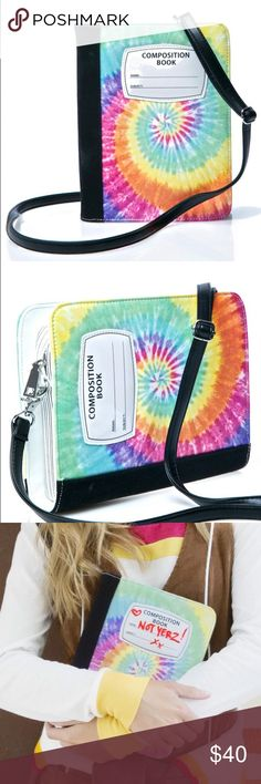 "Notebook Crossbody Bag Current Mood Stoner Composition Book Bag. This convertible crossbody bag features an awesome composition book inspired rectangular base, black canvas binding, swirly tie dyed vegan leather construction, top zip closure surrounded by page detailing, and a thin black removable shoulder strap. You can use permanent marker or dry erase to write on it.  Price firm.   9"" x 7"" x 1.5"" Bags Crossbody Bags"