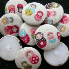 6 Fabric Buttons - Russian doll