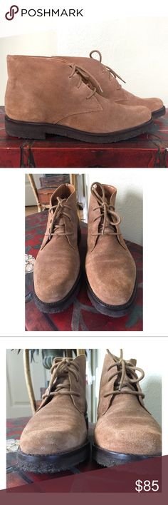 "EDDIE BAUER CHUKKA/DESERT BOOTS Eddie Bauer Chukka/Desert Boots in Tan suede.  In excellent used condition.  All suede upper, leather insole, rubber outer sole, lace up.  ALL MEASUREMENTS ARE APPROXIMATE: LENGTH 10.25"" WIDTH 3.5"" (at ball of foot) 🔵SORRY NO BOX🔵 Eddie Bauer Shoes Ankle Boots & Booties"