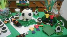 Soccer theme b-day party! Ball cake, customized cookies & cupcakes
