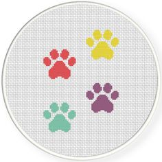 Charts Club Members Only: Paw Prints Cross Stitch Pattern