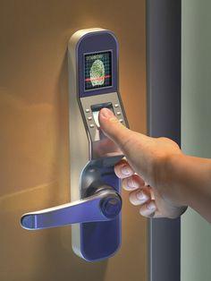 Thumbprint scanner door lock Benefits of Using Fingerprint Access Control Door… Home Security Alarm, Home Security Tips, Wireless Home Security, Home Security Systems, Security Doors, Security Technology, Door Lock System, Emergency Locksmith, Ideas