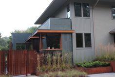 EA Product: Rheinzink PreWeathered Graphite Grey Panels, Equitone Fibre Cement; TE20 Grey and N251 Anthracite, CorTen Panels.  Photographer: John Cornacchione  Toronto Custom Home