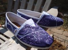 Wedding shoes-painted TOMS shoes-made to order