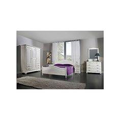 camera da letto bianco spazzolato legno massello letto como comodino armadio