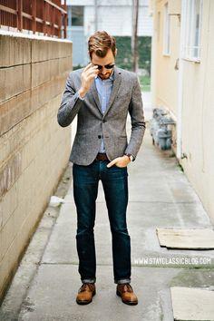 Mid Grey Blazer . Blue Oxford Shirt . Dark Blue Jeans . Tan Brogues . Brown Belt