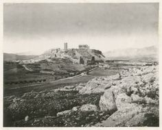"(GREECE.) STILLMAN, WILLIAM. View of the Acropolis from the Musaeum Hill. London: S. F. Ellis, 1870. This photograph is the first view from W. J. Stillman's The Acropolis of Athens, a series of 25 photographs taken in 1869 and published the following year. Stillman has been called ""an uncommonly gifted, innovative photographer whose unquestioned masterpiece is The Acropolis of Athens."""
