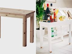Turn side table into an elegant bar cart
