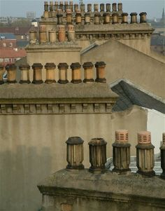 This photo from Tyne and Wear, England is titled 'Chimney Pots'. Chim Chimney, Blaydon Races, Northumbria University, Roof Tops, Great North, North East England, Interesting Buildings, Republic Of Ireland, British Isles