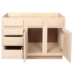 Bathroom Vanity Sink \u0026 Drawer Base 48Unfinished Oak-KITCHEN | CABINETS | VANITIES | UNFINISHED
