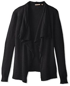 Cashmere Addiction Womens Open Cardigan Sweater Black XS ** Click on the image for additional details.