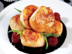 Sweet Butter Seared Sea Scallops with a Raspberry Port Wine Reduction
