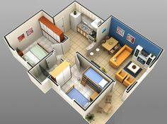 1 sala de tv com sala de jantar, 2 quartos, 1 cozinha, 1 banheiro e uma pequena área