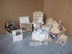 DOLLS HOUSE MINIATURE OOaK Baby and 8 Piece Vintage Peter Rabbit Nursery Set