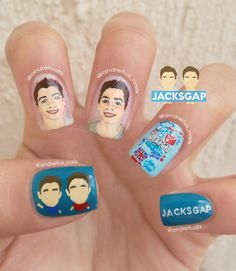Jacksgap nail art. Jack and Finn Harries. Twins. Youtuber nails. NOTD