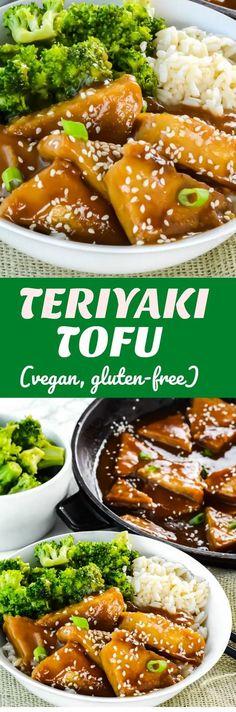 Teriyaki Tofu (Vegan, Gluten-Free) Easy and delicious, baked and not fried #tofurecipes #vegan #glutenfreerecipes