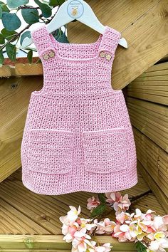 This crochet pattern is suitable for beginners and is part of a collection of modern crochet patterns for babies and children.. available for instant download today #crochet #crochetbaby #crochetpattern #moderncrochet #babycrochet #crochetforbaby Modern Crochet Patterns, Crochet Patterns For Beginners, Baby Patterns, Baby Girl Crochet, Pinafore Dress, Cute Baby Clothes, Crochet Clothes, Baby Dress, Babies