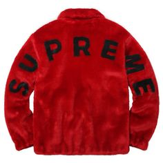 Supreme Faux Fur Bomber Jacket ❤ liked on Polyvore featuring outerwear, jackets, red flight jacket, fake fur jacket, red bomber jacket, flight jacket and red faux fur jacket
