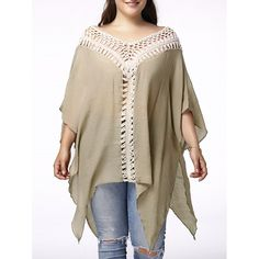 18.52$  Watch here - http://dilzd.justgood.pw/go.php?t=173827003 - Stylish V Neck 3/4 Sleeve Asymmetrical Hollow Out Plus Size Women's Maternity Blouse