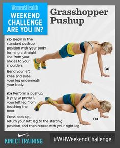 #WHWeekendChallenge WEEKEND CHALLENGE! Grasshopper Pushups. This move really engages your core along with working your chest, shoulders, and arms. You'll feel the burn after completing only a couple of reps. Try to do 10 on each side! SO...ARE YOU IN?