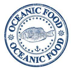 Blau Grunge Stempel mit Fisch und dem Text ozeanischen Nahrungs geschrieben innen, Vektor-Illustration photo