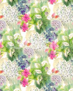 Watercolor Floral Background Pattern royalty-free stock illustration