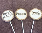 Rustic Pie and Cake Topper Signs (Set of 6) Perfect for your Wedding DESSERT BAR or HOLIDAY Table. $25.50, via Etsy.