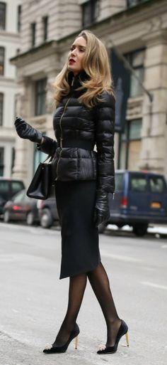 black faux fur quilted coat