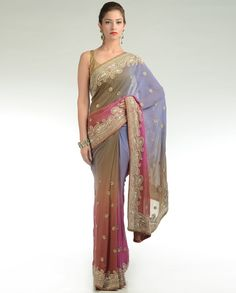 Ombre Shaded Sari with Embellished Border
