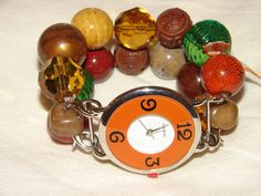 Amber Orange and Green Chunky Beaded Watch Band and by BeadsnTime, $30.00