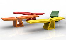 "Bruno the Bench In Bright Colors by Isaac Arms (Metal Bench) (18"" x 72"")"