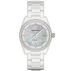 Emporio Armani Quartz Mother of Pearl Dial White Ceramic Watch# AR1497 (Women Watch)